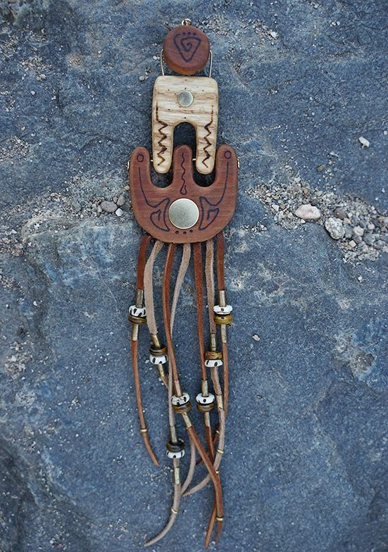 Dynamic stand alone handmade wood earring - TatianaAshna
