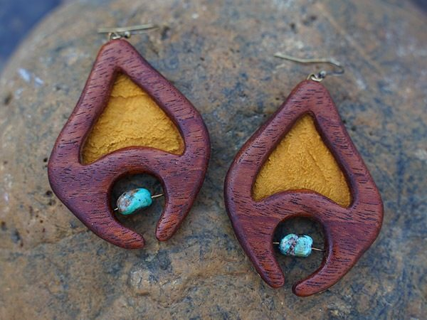 Native tribal hand-designed hand-crafted wooden earring dangler entitled 'Ancestor'