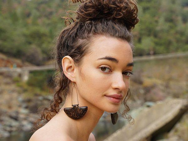 Entitled 'Doyenne' - Handmade wood earrings by TatianaAshna, gifted California USA designer