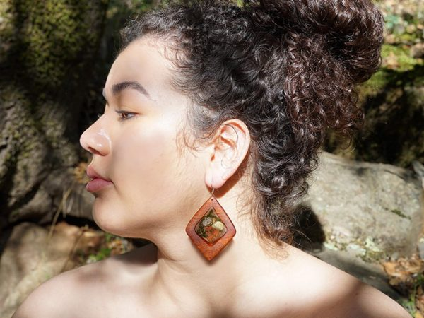 Forest Fairy - a colorful handcrafted wooden tribal dangle earring by Tatiana, a California earring designer devoted to women of color - handmade wood earrings