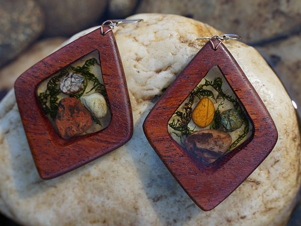 Forest Fairy - a handcrafted wooden tribal dangle earring by Tatiana