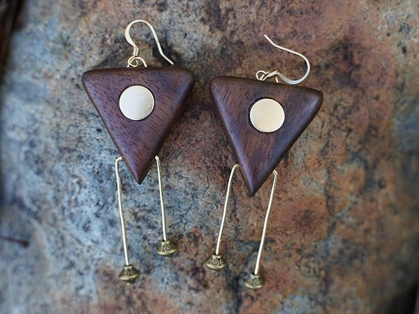 Classic dangle handmade wood tribal earring called 'Ivy May' - by Tatiana from her handmade wood earrings collection for women of color