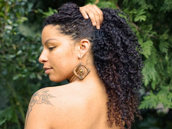 This earring is entitled 'Leoa Cleopatra' - Stunning handmade wood earrings for Powerful women