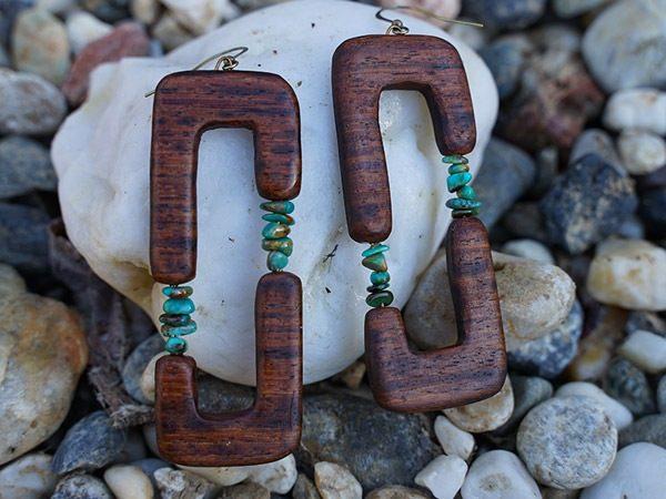 Native style wood dangle earring entitled 'Mowgli'