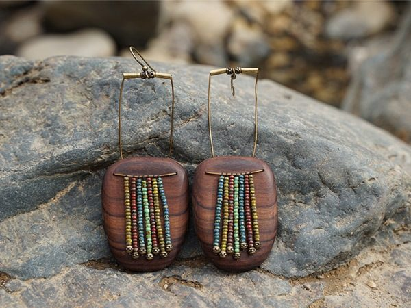 Handcrafted earring of wood and polished beads from the native designer collection of TatianaAshna