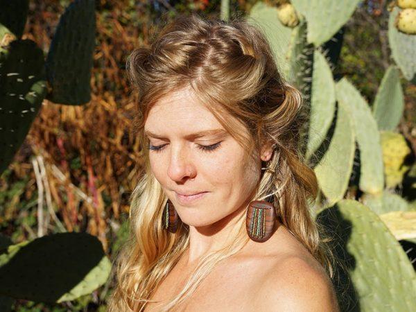 Rain Dance - unique wood and bead handmade earrings