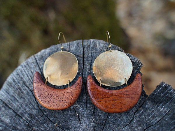 Hand designed native earrings - California designed, handmade wood earrings from TatianaAshna in the Sierra Foothills