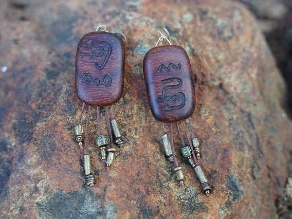 Handcrafted wooden tribal earrings by California designer TatianaAshna
