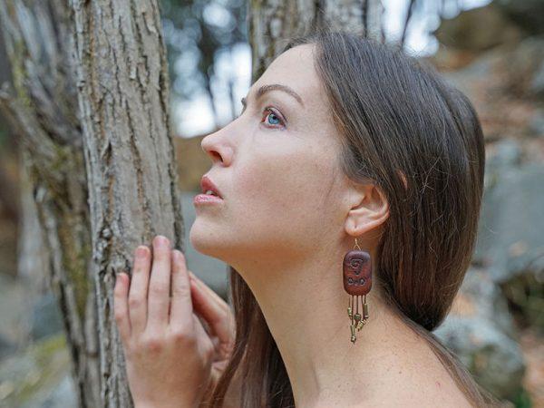 Handcrafted wood tribal dangle earrings by California designer Tatiana