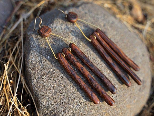 Spathe, Handmade Trival Wood Earrings