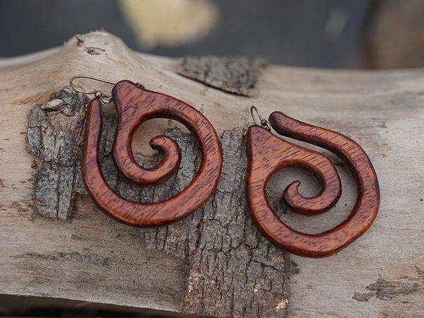 Tatiana's handmade wood earrings California